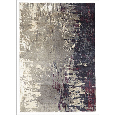 Calais Abstract Watercolour Grey Red Beige Patterned Rug - Rugs Of Beauty