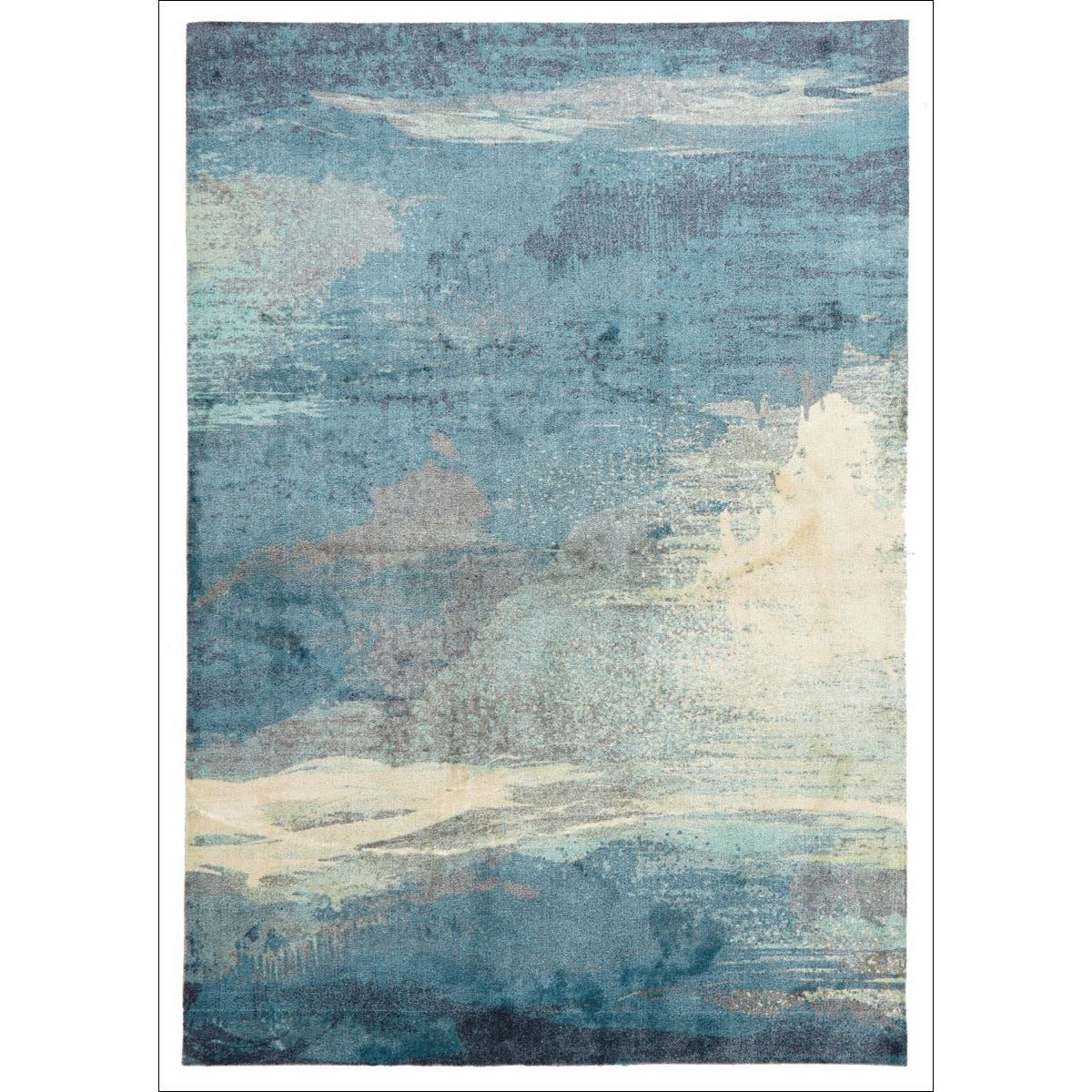 Calais Abstract Watercolour Blue Beige Grey Patterned Rug
