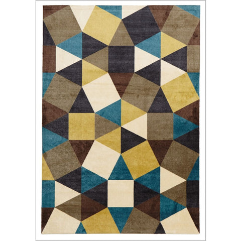 Calais Gold Multi Coloured Geometric Squares Triangles Modern Rug - Rugs Of Beauty