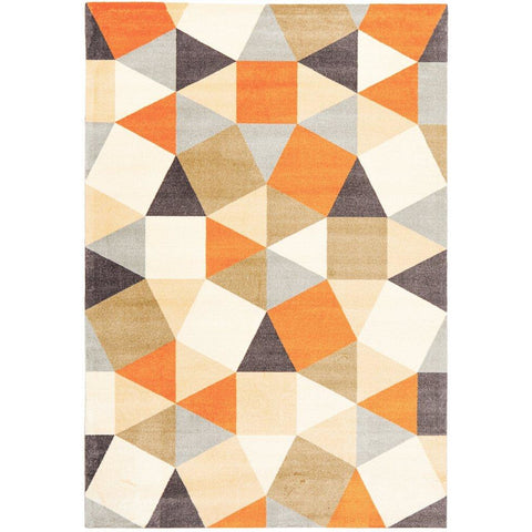 Calais Orange Multi Coloured Geometric Squares Triangles Modern Rug - Rugs Of Beauty - 1