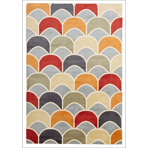 Calais Grey Red Taupe Beige Geometric Modern Patterned Rug - Rugs Of Beauty