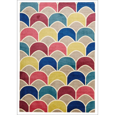 Fish Scale Design Rug Raspberry Blue - Rugs Of Beauty - 1