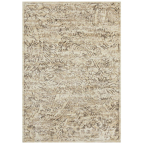 Calais Faded Brown Floral Transitional Pattern on Beige Rug - Rugs Of Beauty - 1