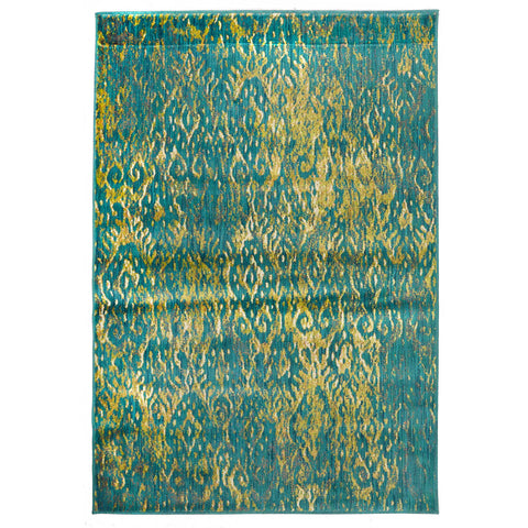 Monsa Green Blue Modern Abstract Patterned Rug - Rugs Of Beauty - 1