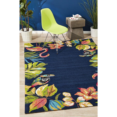 Florence 1531 Navy Floral Flamingo Toucan Birds Patterned Outdoor Modern Rug - Rugs Of Beauty - 1