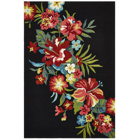 Florence 1532 Black Multi Coloured Floral Patterned Outdoor Modern Rug - Rugs Of Beauty - 1