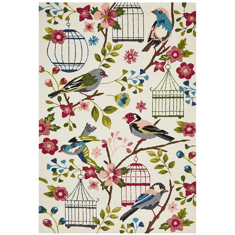 Florence 1534 White Multi Colour Floral Birds Bird Cages Outdoor Modern Rug - Rugs Of Beauty - 1