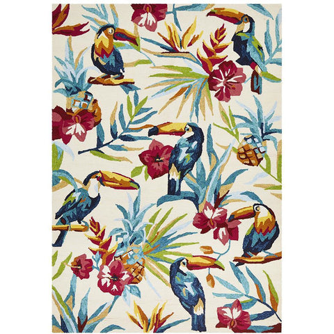 Florence 1535 White Multi Coloured Toucan Birds Floral Patterned Outdoor Modern Rug - Rugs Of Beauty - 1