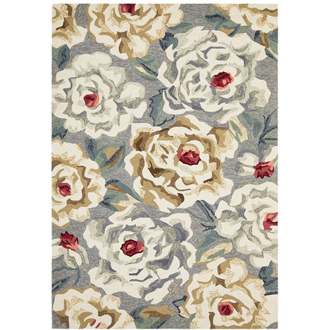Florence 1537 Grey Floral Patterned Outdoor Modern Rug - Rugs Of Beauty - 1