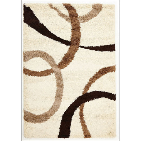 Casablanca Beige Brown Rings Soft Plush Cream Shaggy Rug - Rugs Of Beauty