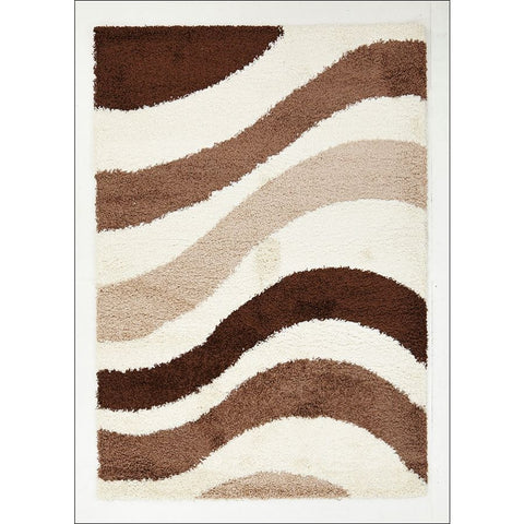 Casablanca Beige Brown Taupe Waves Soft Plush Cream Shaggy Rug - Rugs Of Beauty