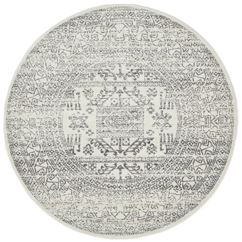 Kiruna 771 Silver Grey Modern Patterned Round Rug - Rugs Of Beauty - 1