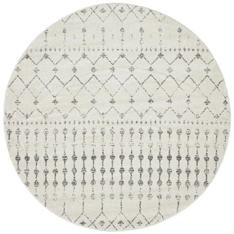 Kiruna 772 Silver Grey Cream Transitional Trellis Patterned Round Rug - Rugs Of Beauty - 1