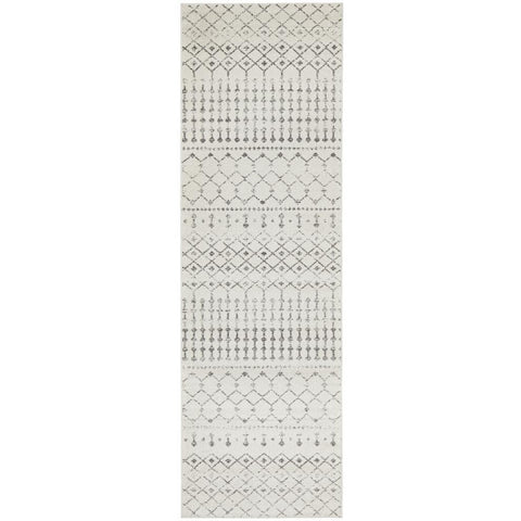 Kiruna 772 Silver Grey Cream Transitional Trellis Patterned Runner Rug - Rugs Of Beauty - 1