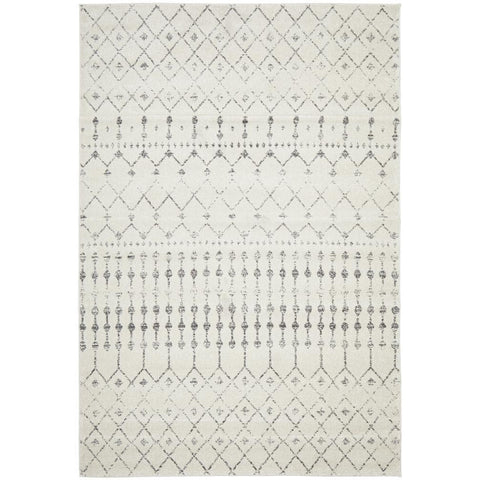 Kiruna 772 Silver Grey Cream Transitional Trellis Patterned Rug - Rugs Of Beauty - 1