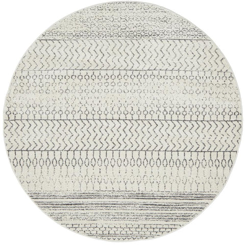 Kiruna 773 Silver Grey Cream Transitional Patterned Round Rug - Rugs Of Beauty - 1
