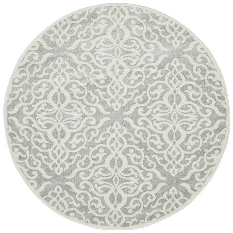 Kiruna 774 Silver Grey Cream Transitional Floral Trellis Patterned Round Rug - Rugs Of Beauty - 1