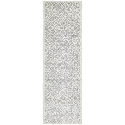 Kiruna 774 Silver Grey Cream Transitional Floral Trellis Patterned Runner Rug - Rugs Of Beauty - 1