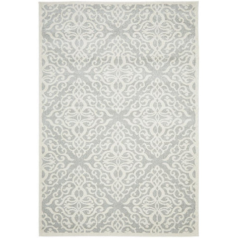 Kiruna 774 Silver Grey Cream Transitional Floral Trellis Patterned Rug - Rugs Of Beauty - 1