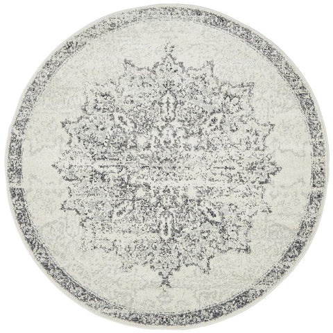 Kiruna 775 Silver Grey Cream Transitional Medallion Patterned Round Rug - Rugs Of Beauty - 1