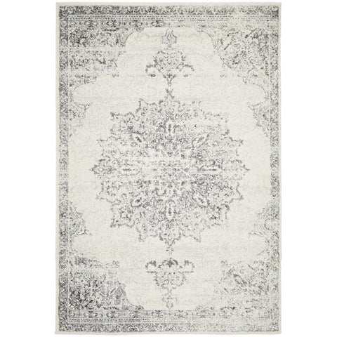 Kiruna 775 Silver Grey Cream Transitional Medallion Patterned Rug - Rugs Of Beauty - 1