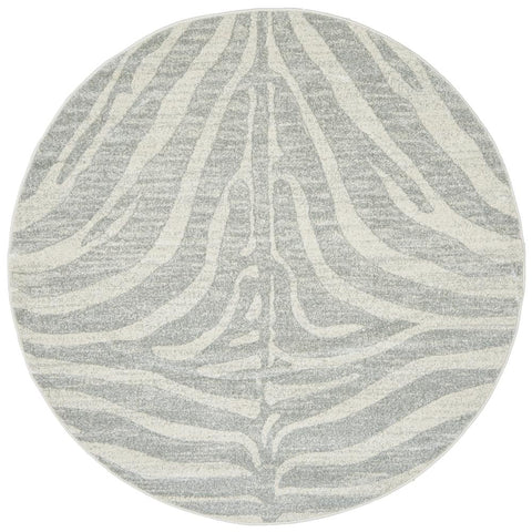 Kiruna 776 Silver Grey Cream Transitional Animal Patterned Round Rug - Rugs Of Beauty - 1