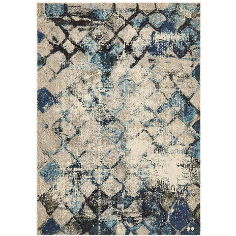 Aberdeen 1480 Blue Beige Multi Coloured Cross Hatch Trellis Patterned Modern Rug - Rugs Of Beauty - 1