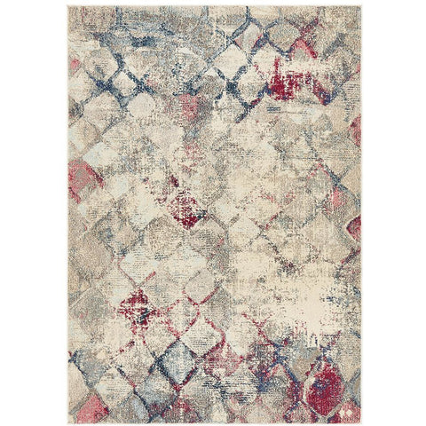 Aberdeen 1480 Blue Pink Multi Coloured Cross Hatch Trellis Patterned Modern Rug - Rugs Of Beauty - 1