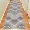 Caldwell Beige Thick Wave Abstract Patterned Modern Rug Runner