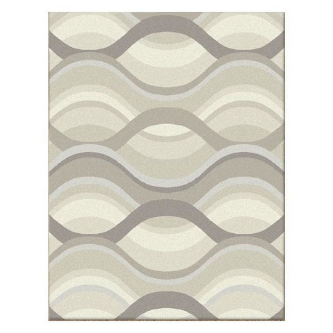 Caldwell Cream Thick Wave Abstract Patterned Modern Rug - 1