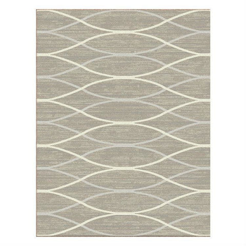 Caldwell Beige Thin Wave Abstract Patterned Modern Rug - 1