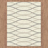 Caldwell Cream Thin Wave Abstract Patterned Modern Rug - 4