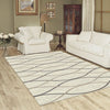 Caldwell Cream Thin Wave Abstract Patterned Modern Rug - 5
