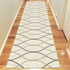 Caldwell Cream Thin Wave Abstract Patterned Modern Rug Runner