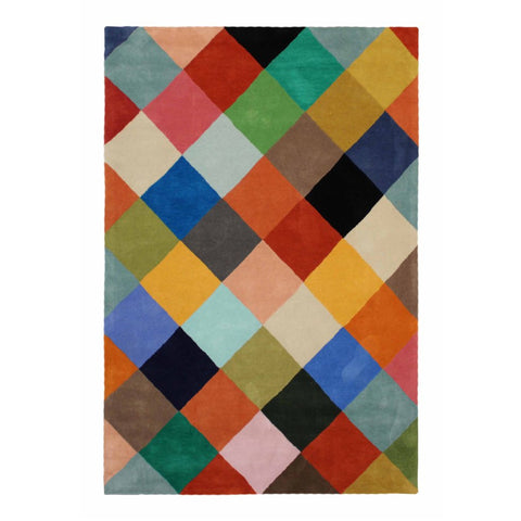 Abilene Geometric Multi Coloured Squares Patterned Rug - Rugs Of Beauty