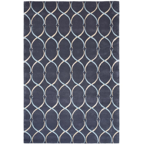 Olympus Light Blue, Beige, Navy and Blue Trellis Lattice Pattern Wool Rayon Rug - Rugs Of Beauty