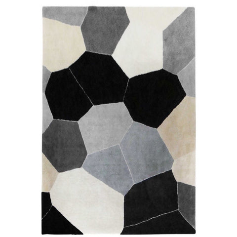 Abilene Geometric Black, Grey, White, Beige and Multi Coloured Patterned Rug - Rugs Of Beauty