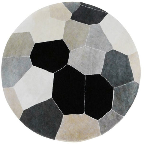 Abilene Geometric Black, Grey, White, Beige and Multi Coloured Patterned Round Rug