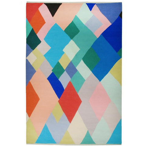 Abilene Geometric Multi Coloured Diamond Patterned Wool Rug - Rugs Of Beauty