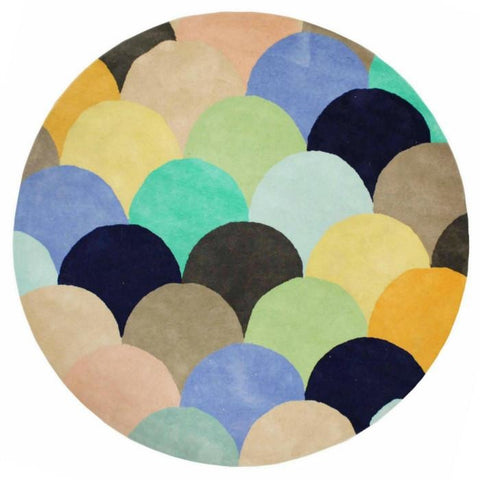 Abilene Geometric Multi Coloured Pastel Fish Scale Patterned Round Rug - Rugs Of Beauty