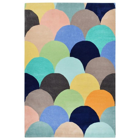 Abilene Geometric Multi Coloured Pastel Fish Scale Patterned Rug - Rugs Of Beauty