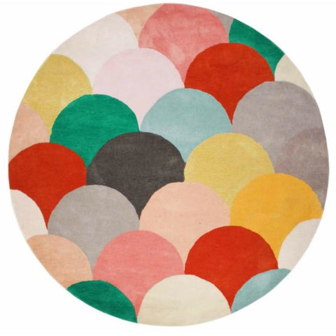 Abilene Geometric Multi Coloured Bright Fish Scale Patterned Round Rug - Rugs Of Beauty