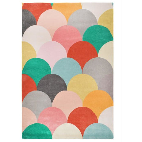 Abilene Geometric Multi Coloured Bright Fish Scale Patterned Rug - Rugs Of Beauty