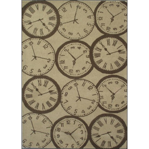 Clock Pattern 100% Wool Designer Rug - Decotex1005 - Natural - Rugs Of Beauty
