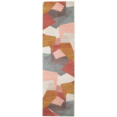 Lima Blush Abstract Geometric Patterned Modern Runner Rug - Rugs Of Beauty - 1