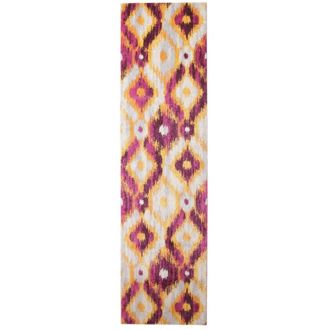 Lima Purple Gold White Abstract Geometric Patterned Modern Runner Rug - Rugs Of Beauty