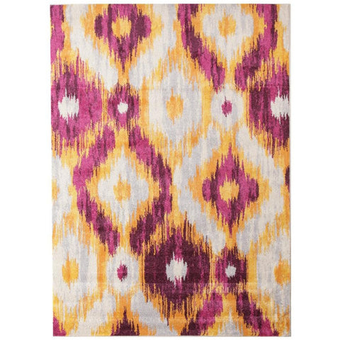 Lima Purple Gold White Abstract Geometric Patterned Modern Rug - Rugs Of Beauty - 1