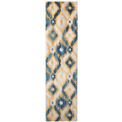 Lima Blue Beige Gold Abstract Geometric Patterned Modern Runner Rug - Rugs Of Beauty - 1