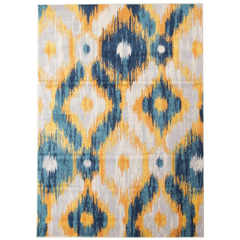 Lima Blue Beige Gold Abstract Geometric Patterned Modern Rug - Rugs Of Beauty - 1