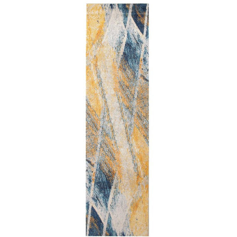 Lima Blue Beige Gold Abstract Lines Patterned Modern Runner Rug - Rugs Of Beauty - 1